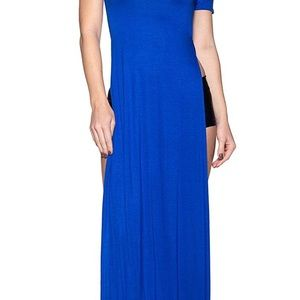 Dresses & Skirts - Navy blue Sexy high split t-shirt maxi dress NWT